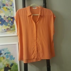 Equipment silk sleeavless shirt blouse sz L orange